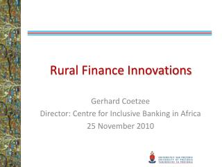 Rural Finance Innovations