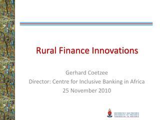 Rural Finance Innovations