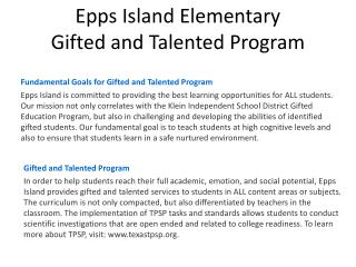 Epps Island Elementary  Gifted and Talented Program