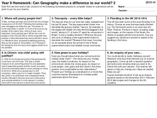 Year 9 Homework: Can Geography make a difference to our world? 2