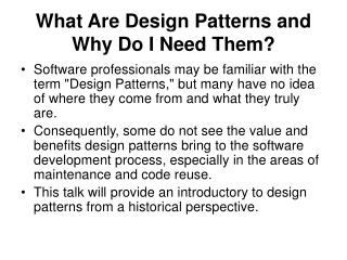 What Are Design Patterns and Why Do I Need Them?