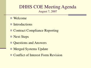 DHHS COE Meeting Agenda August 7, 2007