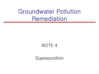 Groundwater Pollution Remediation