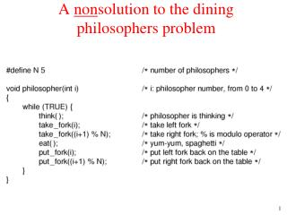 A  non solution to the dining philosophers problem