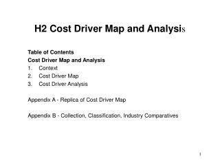 H2 Cost Driver Map and Analysi s
