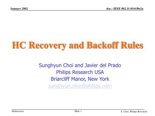 HC Recovery and Backoff Rules