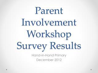 Parent Involvement Workshop Survey Results