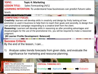 TOPIC:	 Topic  4 : Marketing  LESSON  TITLE: Sales Forecasting (H/L)