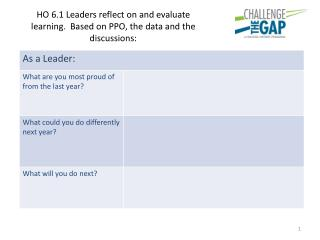 90eff HO 6.1 Leaders reflect on and evaluate learning