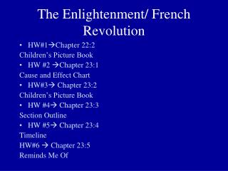 The Enlightenment/ French Revolution