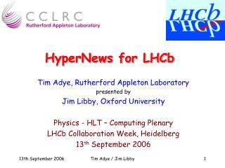 HyperNews for LHCb