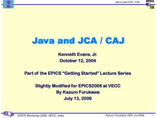 Java and JCA / CAJ