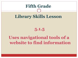 Fifth Grade Library Skills Lesson