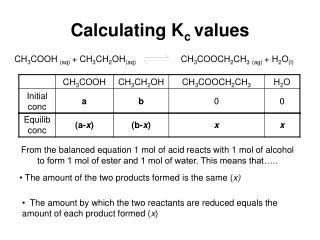 Calculating K c  values