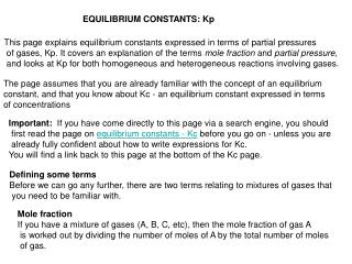 EQUILIBRIUM CONSTANTS: Kp