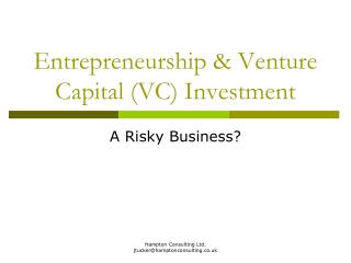 Entrepreneurship & Venture Capital (VC) Investment