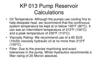 KP 013 Pump Reservoir Calculations