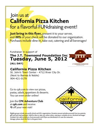 Fundraiser in support of The J.T. Townsend Foundation Inc. Tuesday, June 5, 2012 (ALL DAY)