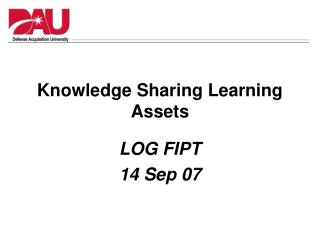 Knowledge Sharing Learning Assets