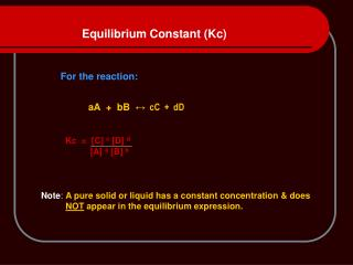 Equilibrium Constant (Kc)