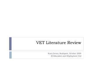 VET Literature Review