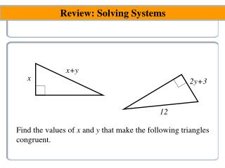 Review : Solving  Systems