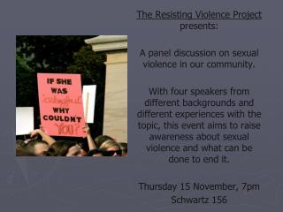 The Resisting Violence Project  presents: