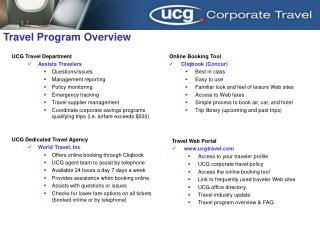 UCG Travel Department Assists Travelers