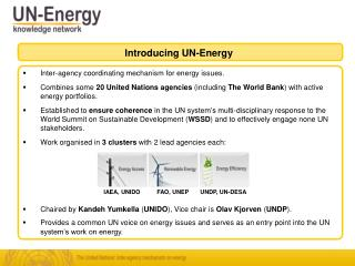 Inter-agency coordinating mechanism for energy issues.