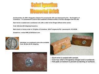 Saint Ignatius  Memorial Brick