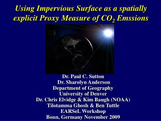 Using Impervious Surface as a spatially explicit Proxy Measure of CO 2  Emssions
