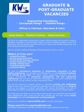GRADUATE &  POST-GRADUATE VACANCIES