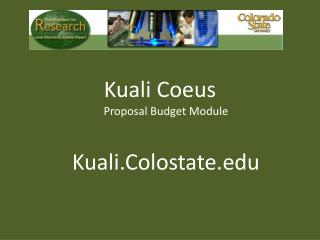 Kuali Coeus Proposal Budget Module Kuali.Colostate