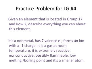 Practice  Problem for LG #4