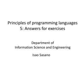Principles of programming languages 5 : Answers for exercises