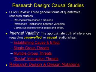 Research Design: Causal Studies