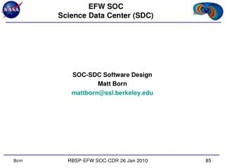EFW SOC Science Data Center (SDC)