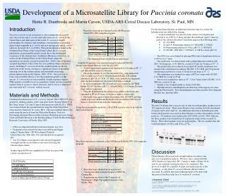 Development of a Microsatellite Library for Puccinia coronata Hattie R. Dambroski and Martin Carson, USDA-ARS-Cereal Dis