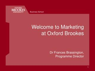 Welcome to Marketing  at Oxford Brookes