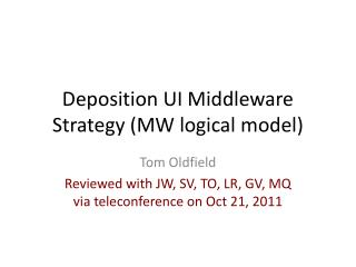 Deposition UI Middleware Strategy (MW logical model)