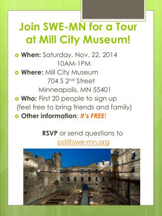 Join SWE-MN for a Tour at Mill City Museum!