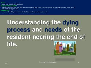 Understanding the  dying process  and  needs  of the resident nearing the end of life.