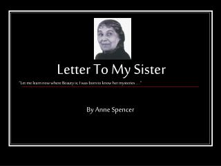 Letter To My Sister