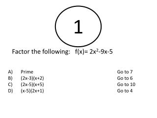 Factor the following:   f(x)= 2x 2 -9x-5