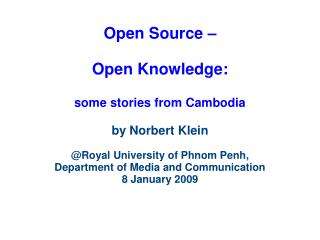The start of my involvement:  How to open access to knowledge