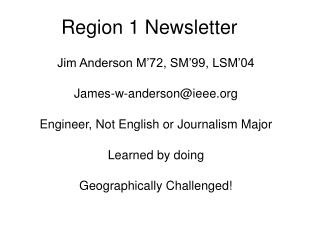 Region 1 Newsletter