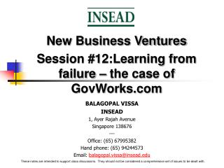 New Business Ventures Session #12:Learning from failure – the case of GovWorks