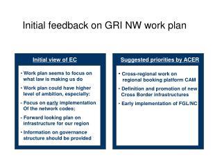 Initial feedback on GRI NW work plan