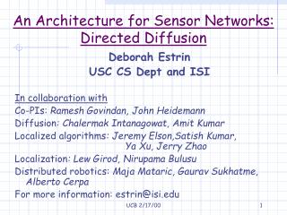 An Architecture for Sensor Networks:  Directed Diffusion