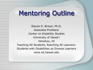 Mentoring Outline